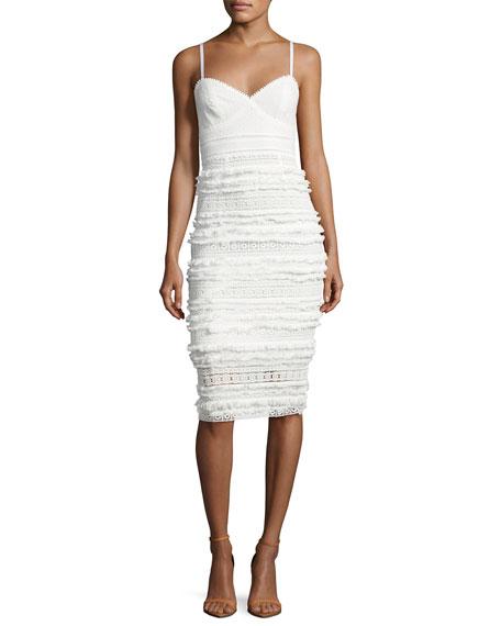 Trina Turk Stow Sleeveless Tiered Fringe & Lace Sheath Dress, White
