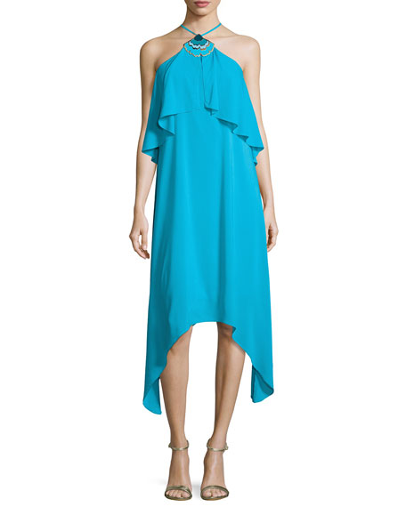 Botanical 2 Silk Crepe de Chine Midi Dress, Skinny Dip