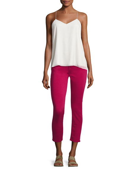 Sateen Cropped Skinny Jeans