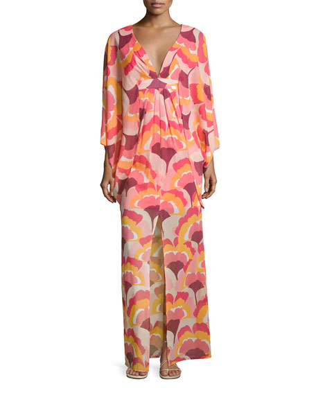 Trina Turk Blossom Floral Stretch Silk Maxi Dress,