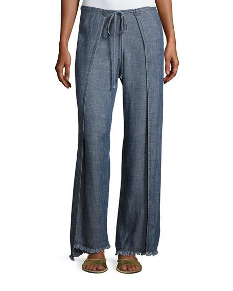 Wawona Tied Overlay Chambray Pants, Blue
