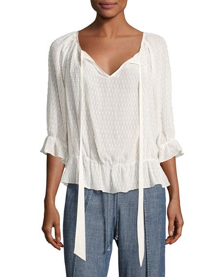 Baez 2 Jacquard Silk-Blend Top, White