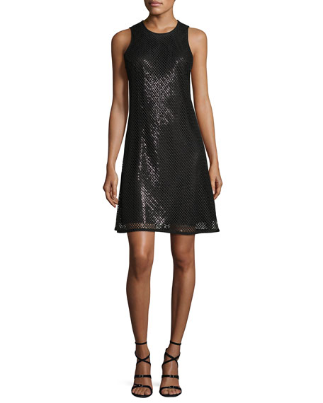 Carmen Marc Valvo Sleeveless Sequined Mesh A-Line Cocktail