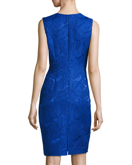 Sleeveless Floral Jacquard Cocktail Dress, Cobalt
