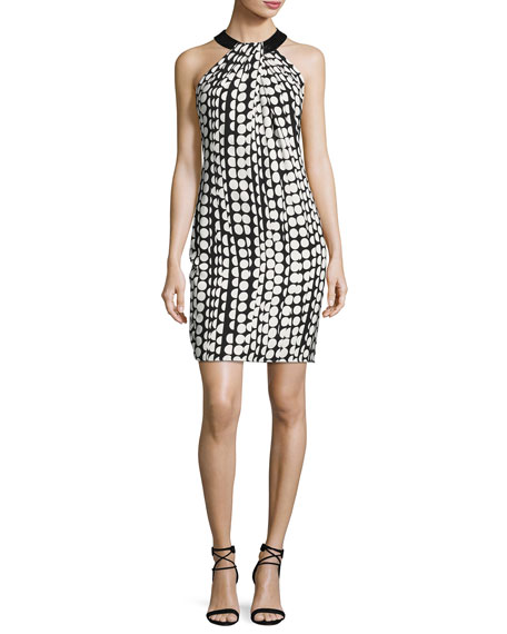 Carmen Marc Valvo Sleeveless Printed Ponte Sheath Dress,