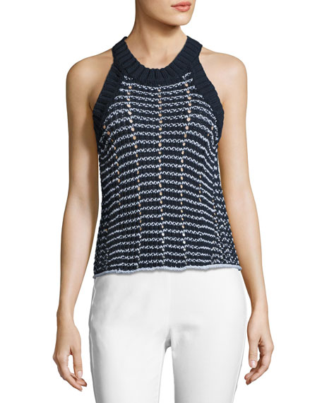 Daniela Cable-Knit Tank, Navy
