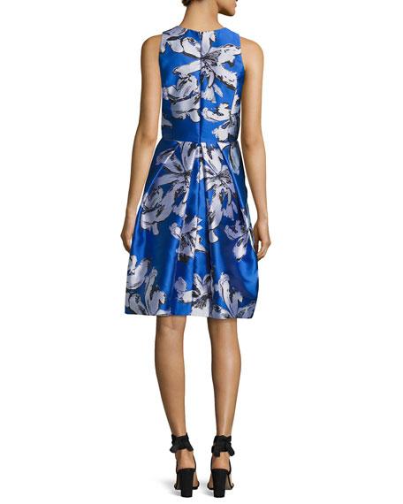 Sleeveless Floral Silk Satin Cocktail Dress, Cobalt