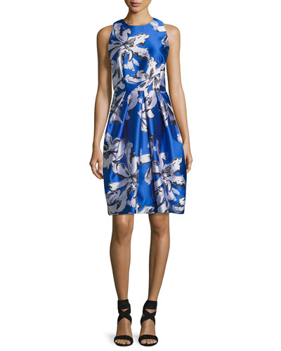 Sleeveless Floral Silk Satin Cocktail Dress, Cobalt