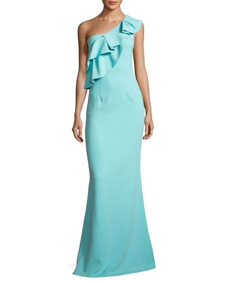 Black Halo Manala One-Shoulder Tiered Ruffle Mermaid Gown,