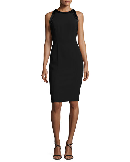 Carmen Marc Valvo Sleeveless Cutout Crepe Cocktail Dress,