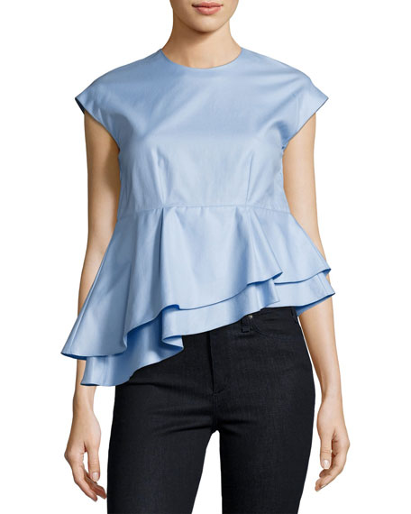 Carven Asymmetric Peplum Babydoll Top, Blue