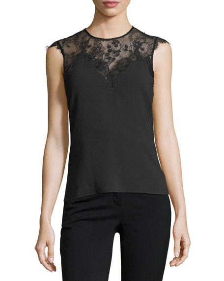Sleeveless Jewel-Neck Top w/ Lace