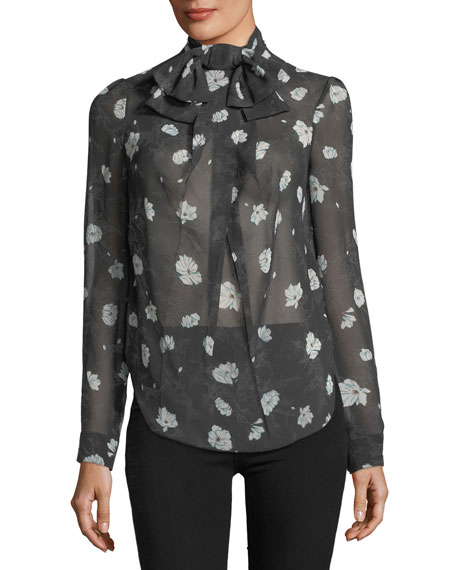 Carven Floral-Print Bow-Neck Blouse