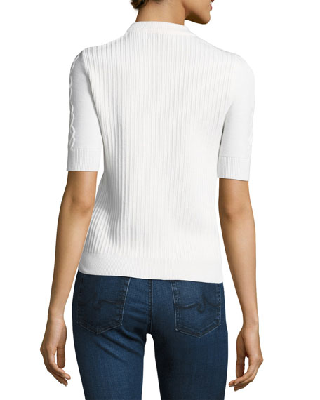 Twist-Knit Short Sleeve Pullover Top, White