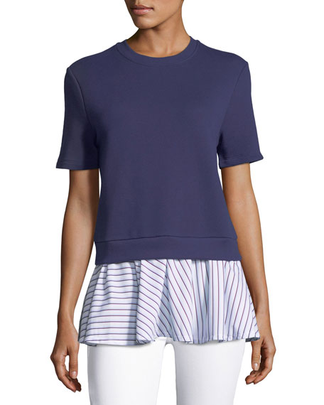 Carven Short-Sleeve Crewneck Combo Top