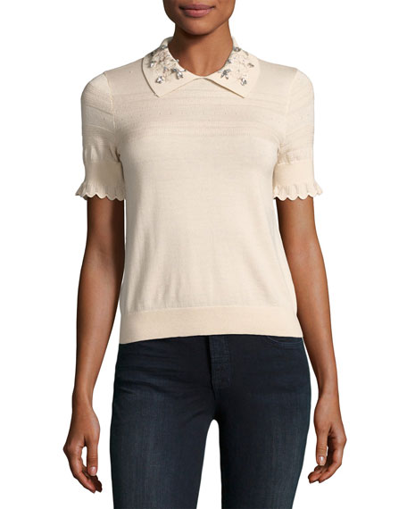 Embellished Collar Short-Sleeve Top, Ecru