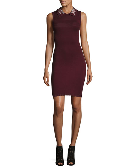 Carven Embellished Collar Sleeveless Dress, Wine