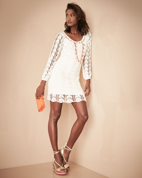 Sur Long-Sleeve Cotton Crochet Mini Dress, White