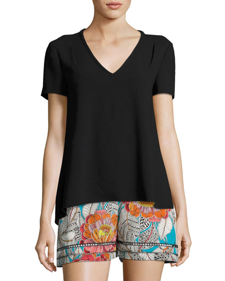 Floramaria Cutout Crepe Top, Black