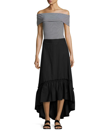 rosamund shirred high low maxi skirt black