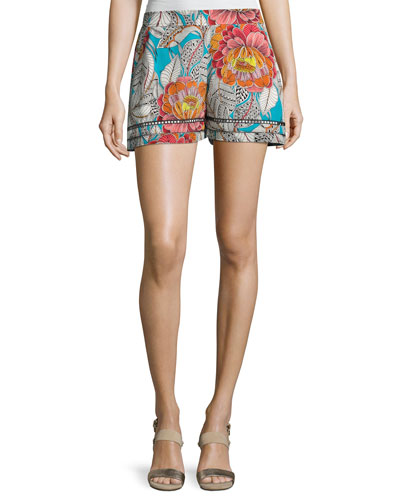 Bubbly Floral Silk Shorts, Soiree Pink