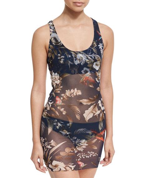 Fuzzi Floral-Print Two-Piece Tankini Swimsuit, Blue