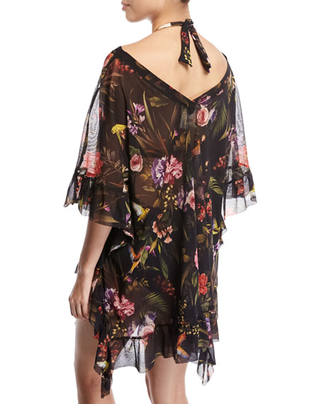 Floral Print Short-Sleeve Swim Coverup, Black