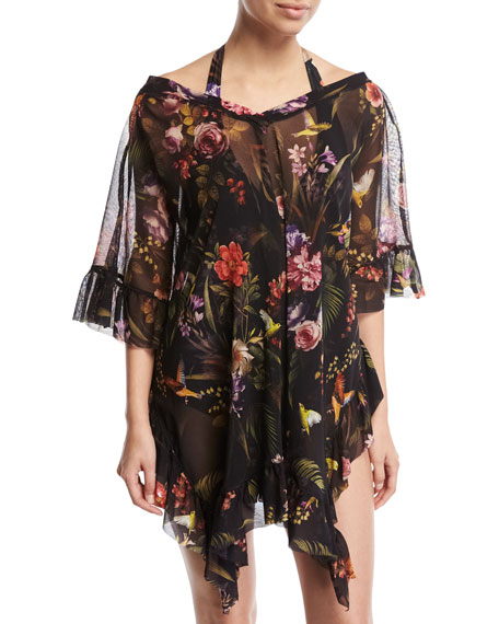 Floral Print Short-Sleeve Swim Coverup, Black