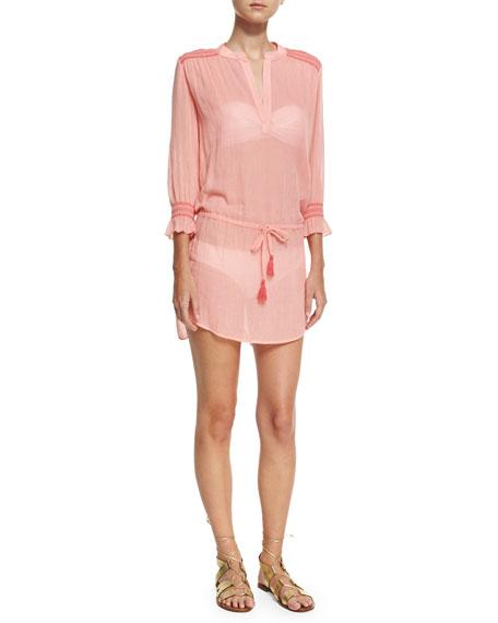Heidi Klein Capri Smocked Coverup Tunic, Pink