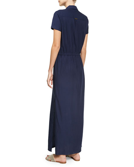 Hamptons Maxi Shirtdress, Blue