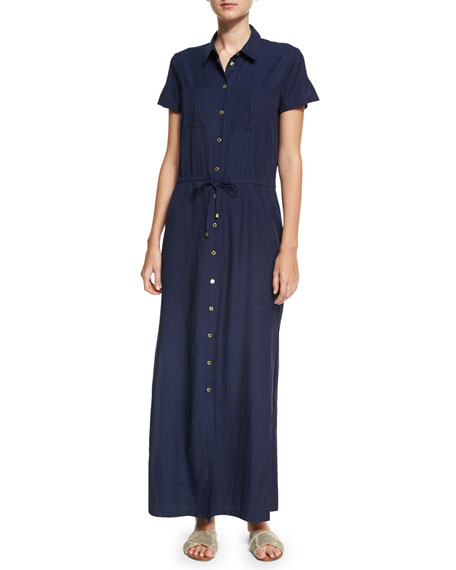 Hamptons Maxi Shirtdress, Blue