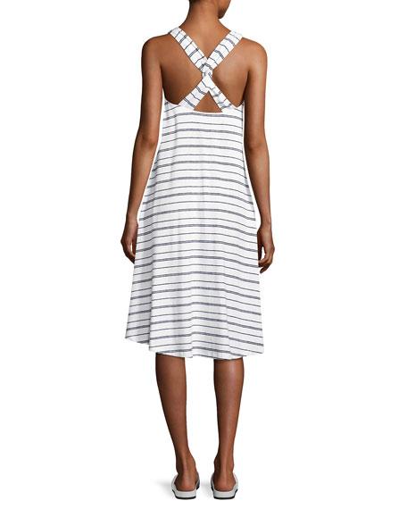 Nassau Striped Twist-Back Dress, White