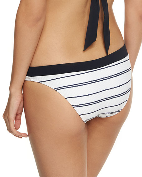 Nassau Striped Hipster Swim Bikini Bottom, White