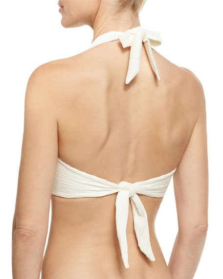 Cote D' Azur U-Bar Halter Swim Top, White (Available in D-G Cup)