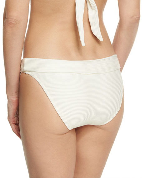 Cote D' Azur Fold-Over Swim Bottom, White