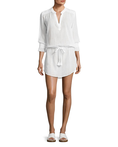 Seychelles Smocked Coverup Tunic, White