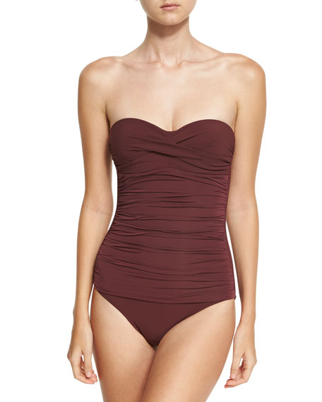 Heidi Klein Body Ruched Control Bandeau One-Piece Swimsuit,
