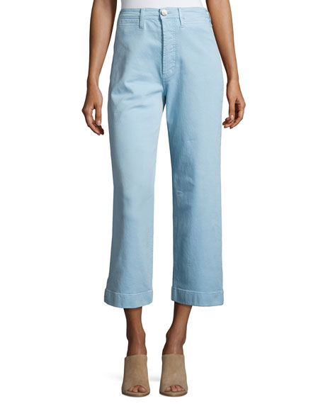 MiH Caron High-Rise Cropped Wide Leg Pants, Blue