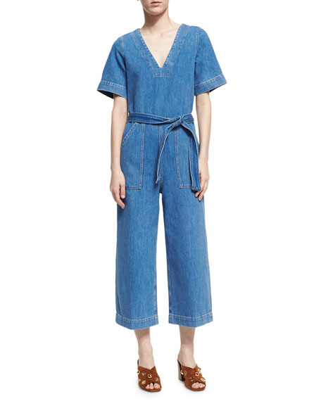 MiH Hart Deep V All-in-One Jumpsuit, Blue