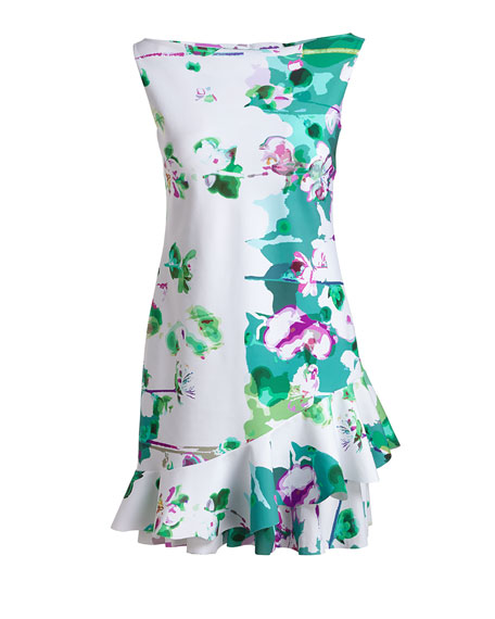 Martje Sleeveless Floral Flounce Cocktail Dress, Reflections