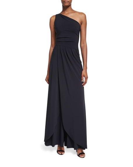 Marama One-Shoulder Faux-Wrap Jersey Jumpsuit, Black