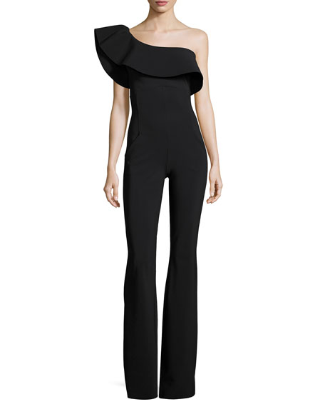 Ravivia One-Shoulder Boot-Cut Jersey Jumpsuit, Black