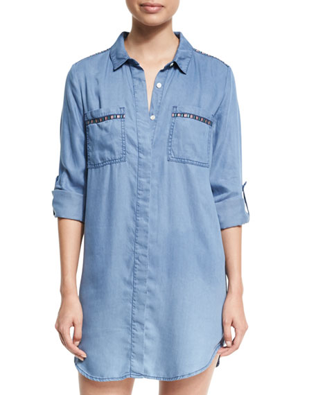 Seafolly Embroidered Beach Tunic Shirt, Washed Chambray and