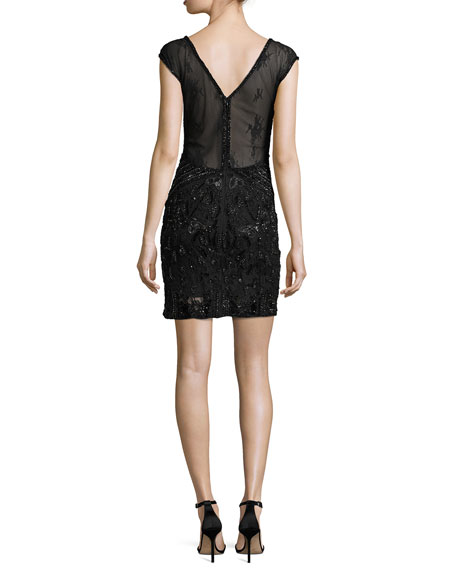 Montclair Cap-Sleeve Beaded Lace Cocktail Dress, Black