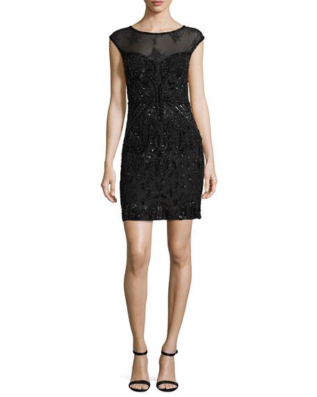 Parker Black Montclair Cap-Sleeve Beaded Lace Cocktail Dress,