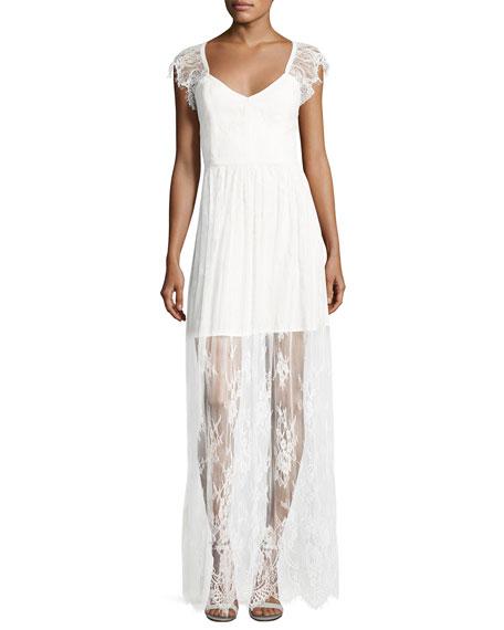 Parker Black Erika Cap-Sleeve Floral Lace Column Gown,