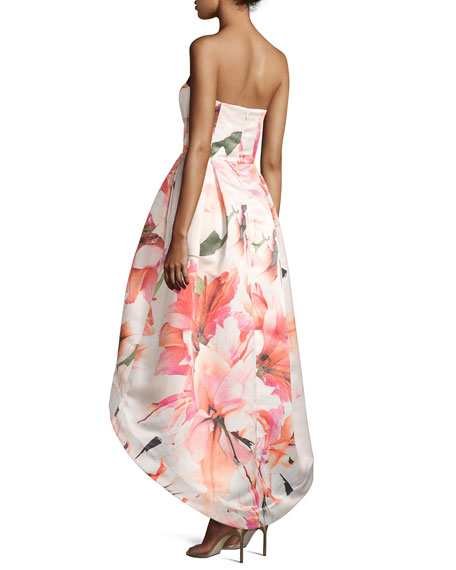 Roxanne Strapless Floral Satin High-Low Gown, Pink