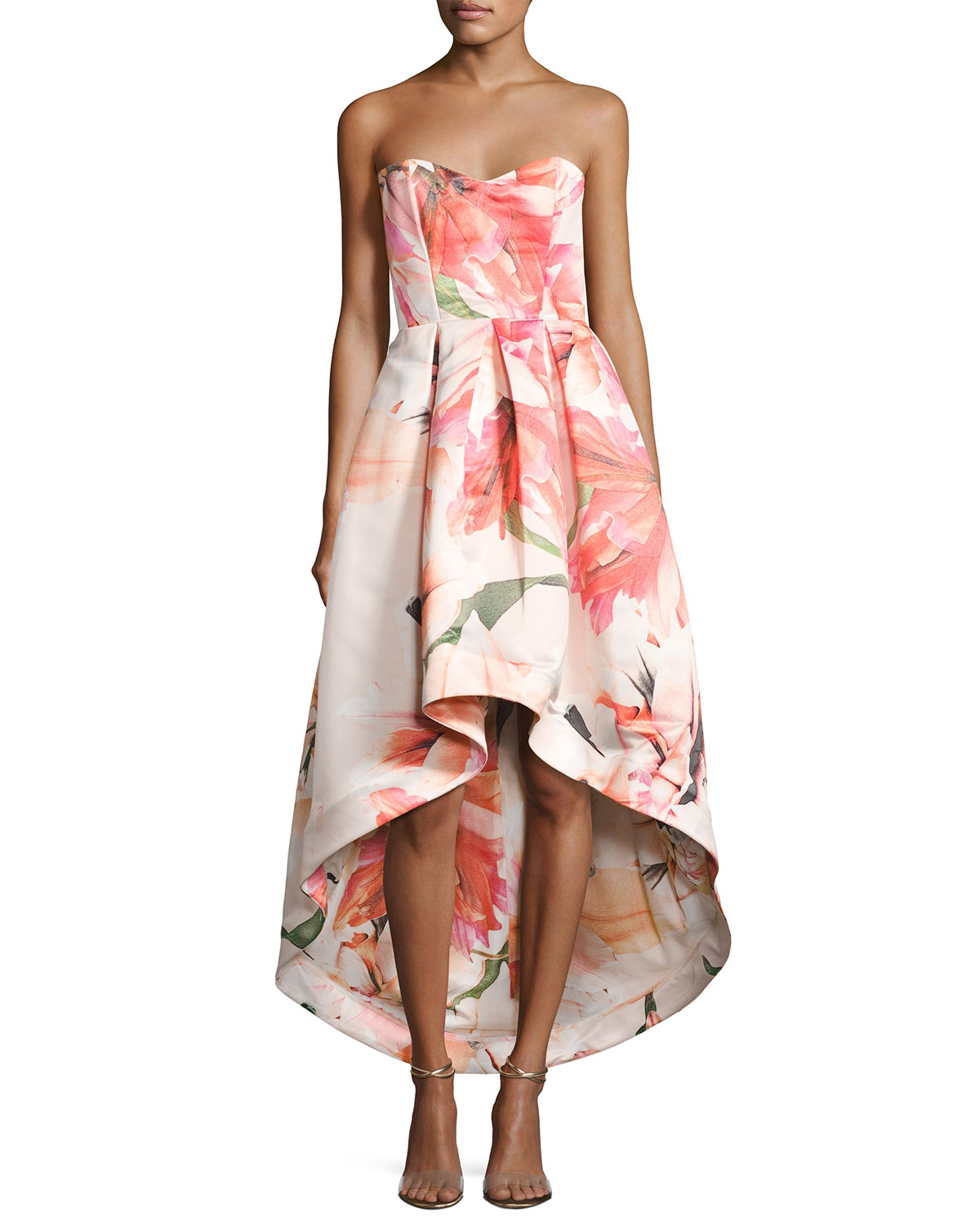 Parker Black Roxanne Strapless Floral Satin High-Low Gown