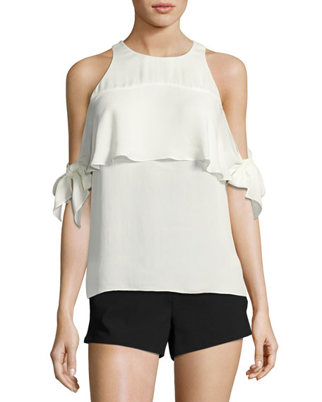 Ramy Brook Penelope Cold-Shoulder Tie-Sleeve Top, White