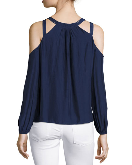 Alana Long-Sleeve Cold-Shoulder Top, Navy